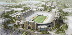 A conceptual sketch of Notre Dame Stadium
