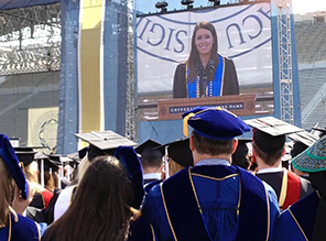 Valedictorian Mallory Meter on video screen at 2013 Commencement