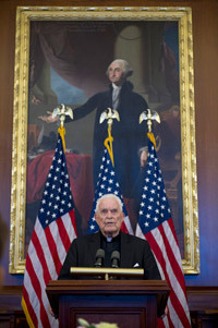 University President Emeritus Rev. Theodore M. Hesburgh, C.S.C., speaks during a reception celebrating his 96th birthday in the U.S. Capitol