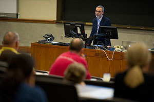Researcher Frederick Maxfield leads a presentation at the 2012 NPC research conference