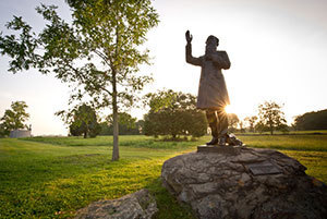 A statue of Rev. William Corby, C.S.C., stands in Gettysburg, Pa.