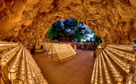 A panorama of the Grotto of Our Lady of Lourdes