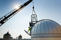 Installation of the Sarah L. Krizmanich Telescope on the roof of the Jordan Hall of Science
