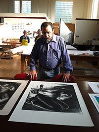 Joe Segura in his studio