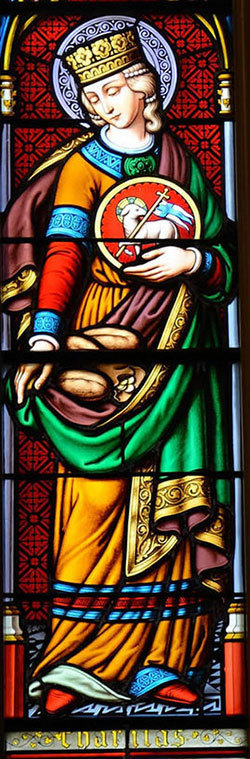 """Caritas"" window in the Basilica"