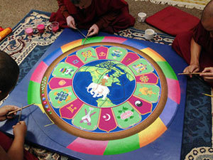 sand mandala construction
