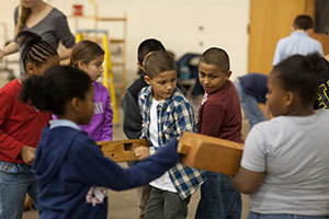 "Madison Primary fourth-graders working in ""Teamwork and Timbers"" program"