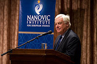 Christopher Patten speaks at the 2012 Nanovic Forum