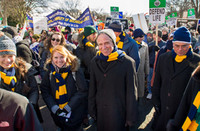 University president Rev. John Jenkins C.S.C. walks with Notre Dame students during the 2014 March for Life in Washington, D.C.