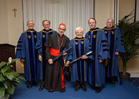 The University of Notre Dame conferred an honorary Doctor of Laws degree on Cardinal Jean-Louis Tauran and Maria Voce at the Notre Dame Rome Centre
