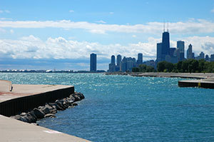 The Chicago lakefront, part of a waterway system involved in an Asian carp study