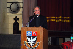 Rev. John I. Jenkins, C.S.C., gives an address Feb. 6 at St. Xavier's College in Mumbai