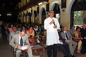 Rev. Frazer Mascarenhas, S.J., head of St. Xavier's, talks during a Q&A session at St. Xavier's in Mumbai