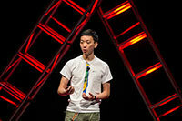Peter Woo speaks at the 2014 TEDxUND event