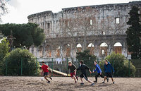 Undergraduate School of Architecture students play soccer next to the Colosseum, near the Notre Dame Rome Centre