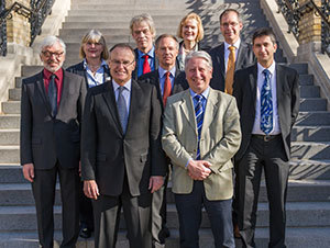 Nick Entrikin (front left) poses with Bernhard Eitel, rector of Heidelberg University, Germany, and other representatives of Heidelberg University