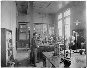 Rev. Julius Aloysius Nieuwland, C.S.C, teaching chemistry circa 1910-1915. Photo courtesy of Notre Dame Archives