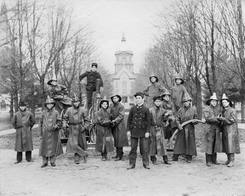 Notre Dame Fire Department poses in front of the Administration Building in 1899 (Credit: Notre Dame Archives - not for reuse)