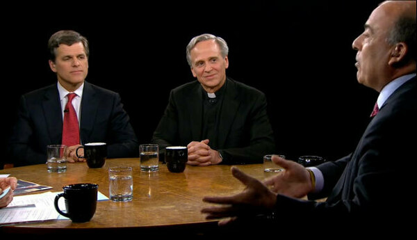 "Rev. John Jenkins, C.S.C., appears on ""Charlie Rose,"" seen here with Muhtar Kent and Timothy Shriver"