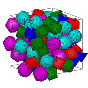 A highly filled pack of Platonic solids with 100 total particles