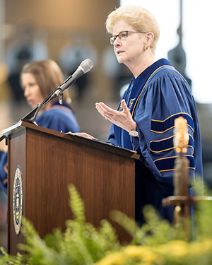 Jane Dammen McAuliffe, director of the John W. Kluge Center at the Library of Congress, gives the Commencement address at the Graduate School Commencement ceremony
