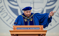Aaron Neville, a four-time Grammy Award winning singer and musician, speaks after being awarded the Laetare Medal