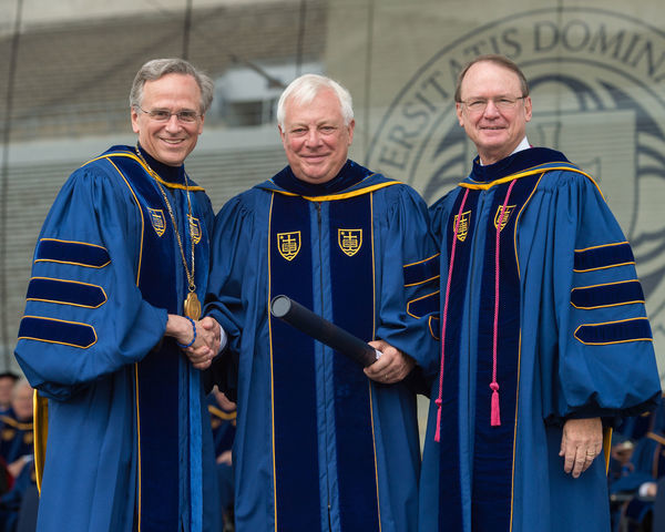 Oxford University Chancellor Christopher Patten receives an honorary doctorate from Father Jenkins, C.S.C., left, and Board of Trustees Chairman Richard Notebaert