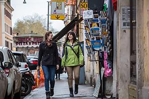 Samantha Lessen '15 and Alexa Rakoski '15 walk near the Notre Dame Rome Centre in Rome