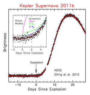 Light curve of one of the supernovae observed with the Kepler Space Telescope. Each black dot is a 30-minute exposure and the red triangles show 6-hour average brightness measurements. The inset zooms in on the time of explosion and indicates a range of possible companion signatures.