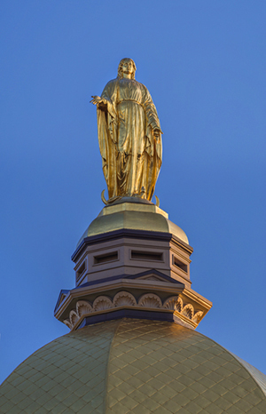 Mary statue on top of golden dome