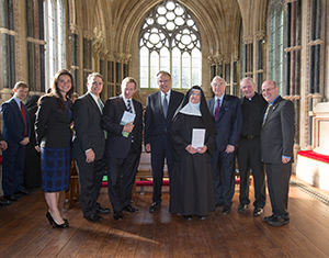 From left: Lisa Caulfield, Warren von Eschenbach, Enda Kenny, Nicholas Entrikin, Abbess Maire Hickey, Martin Naughton, Rev. Tim Scully and Kevin Whelan at the commencement of work at Kylemore Abbey