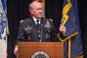 Gen. Martin Dempsey, then Chairman of the Joint Chiefs of Staff, speaks in Carey Auditorium