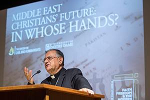 "Archbishop Fouad Twal, the Latin Patriarch of Jerusalem, delivers a public talk titled ""Middle East Christians' Future: In Whose Hands?"""
