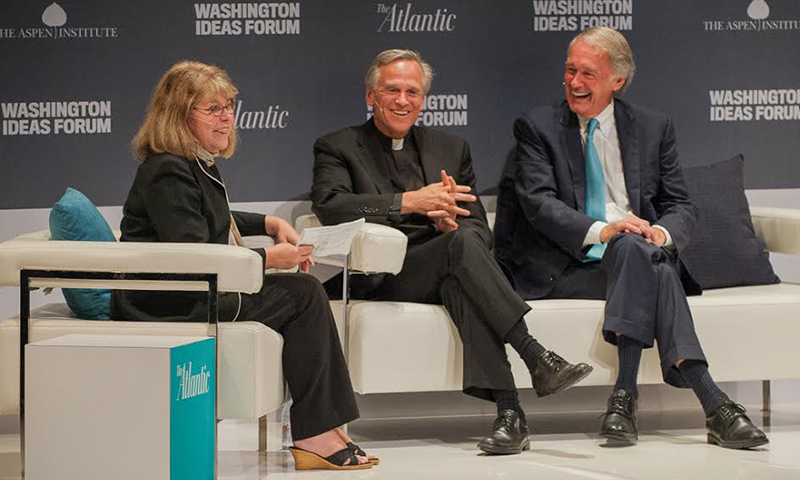 Rev. John Jenkins, C.S.C., speaks at The Atlantic's 2015 Washington Ideas Forum (courtesy Max Taylor Photography)