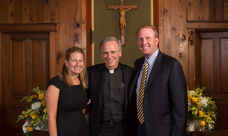 James Parsons and Dr. Carrie Quinn with Rev. John Jenkins, C.S.C.