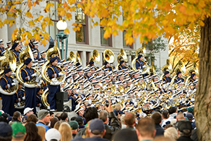 The Notre Dame Marching Band performs its pregame Concert on the steps at Bond Hall