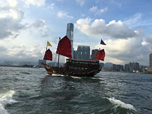 Sampan boat in Hong Kong harbor