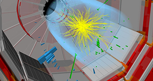 Image from CERN of the CMS detector illustrates one of the proton collisions that may have produced a mysterious particle