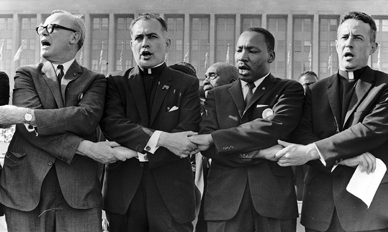 Rev. Theodore M. Hesburgh, C.S.C., with Martin Luther King Jr., ca. 1964
