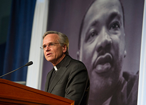 Rev. John I. Jenkins, C.S.C., president of the University of Notre Dame, offers a reflection at the Martin Luther King Jr. Celebration Luncheon