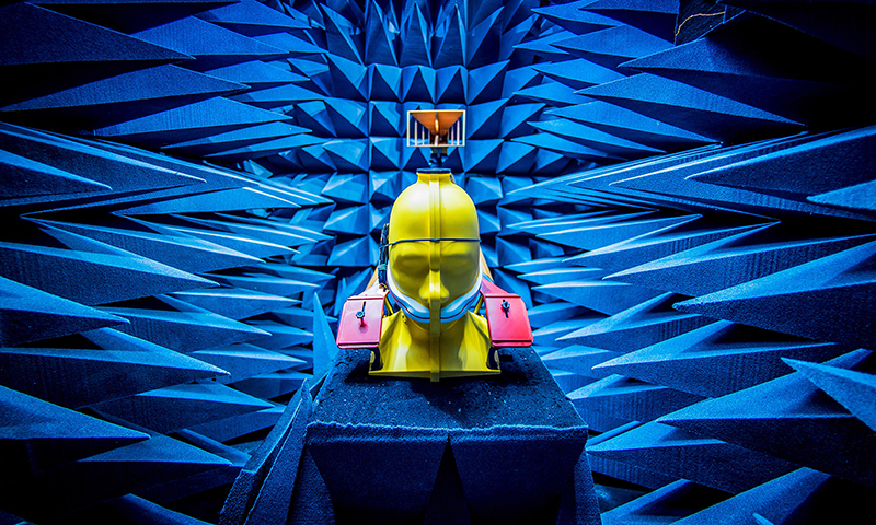 A full-head mannequin testing wireless performance in Notre Dame's anechoic chamber for the Wireless Institute