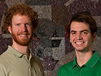 David Surine, left, and Thomas Zirkle, the first Engineering students to be awarded Keysight RF [radio frequency] and Microwave Industry-Ready Student Certification