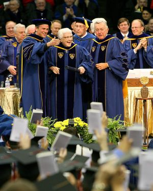 Author Harper Lee at the 2006 Notre Dame Commencement ceremony