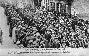 Volunteers marching just before the Irish 1916 Rising. Courtesy of the National Library of Ireland.