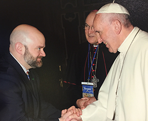 Carter Snead meets Pope Francis in a private audience at the Vatican