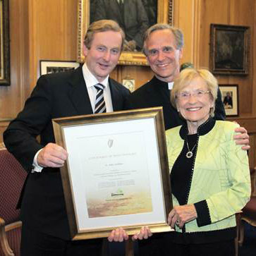 Irish Prime Minister Kenny, Father Jenkins and his mother, Helen Condon Jenkins