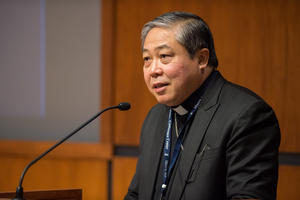 Archbishop Bernardito Auza, Permanent Observer of the Holy See to the United Nations prepares to give the keynote address at the Center for Ethics and Religious Values in Business conference