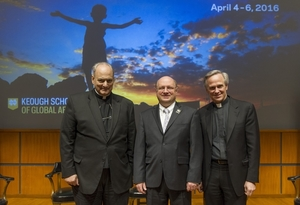 "Rev. John I. Jenkins, C.S.C., president (right), with panelists Most Rev. Marcelo Sánchez Sorondo (left) and Scott Appleby, Dean of the Keough School, before the inaugural conference ""For the Planet and the Poor"""