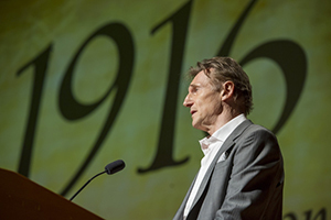 "Narrator Liam Neeson gives opening remarks at the gala premiere of the documentary ""1916: The Irish Rebellion"" at Notre Dame"