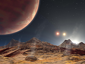 Artist's rendition of the view from a hypothetical moon in orbit around a three-star system